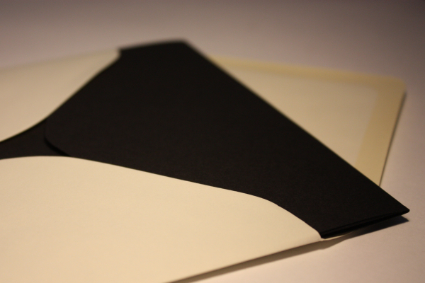 Ivory pearlescent envelope and black pocketfold invite