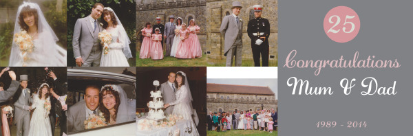 Personalised 25th Wedding anniversary banner with photographic montage