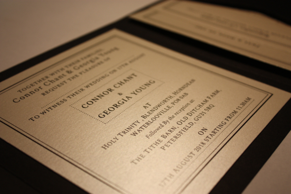 Custom typeset wedding invites in a simple design.