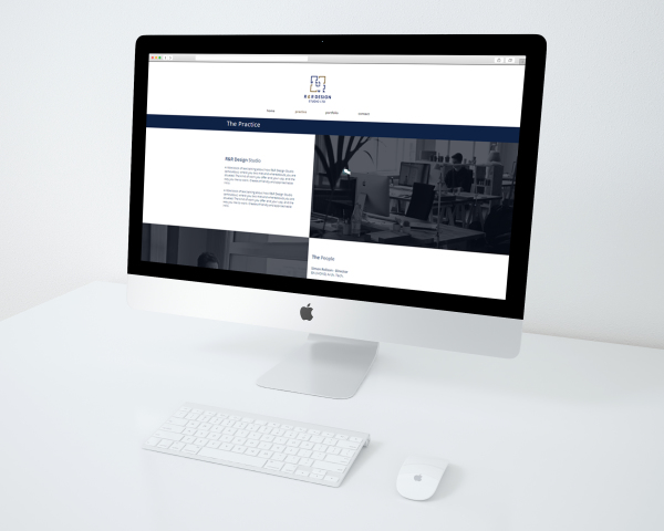 Website mockup of the new R&R Design Studio site.