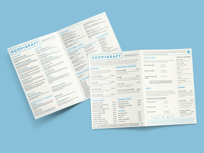 Menu design for new restaurant Koop+Kraft